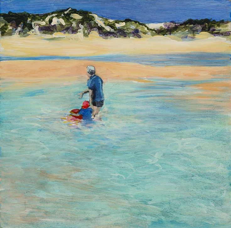 Holiday Moment #paddling #beach #summer #manandboy, 2014 acrylic on ply 20 x 20 cm