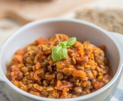 Lentilles à la tomate et aux épices