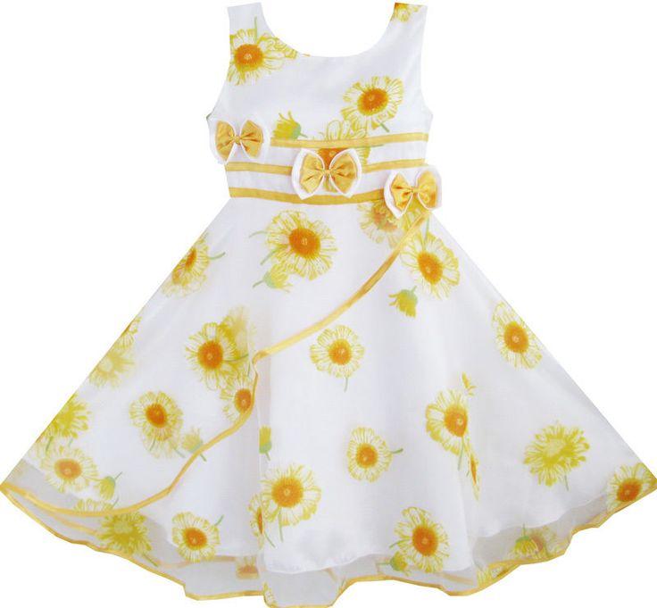 Mädchen Kleid 3 Bogen Binden Sonnenblume Festzug Hochzeit Kids Kleidung