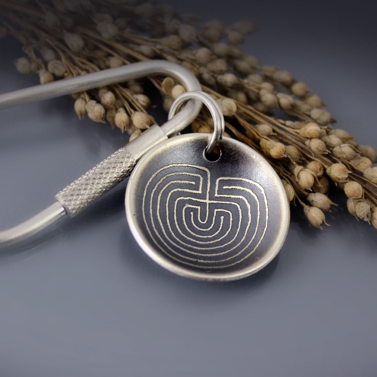 Sterling Silver Keychain - Etched Labyrinth.