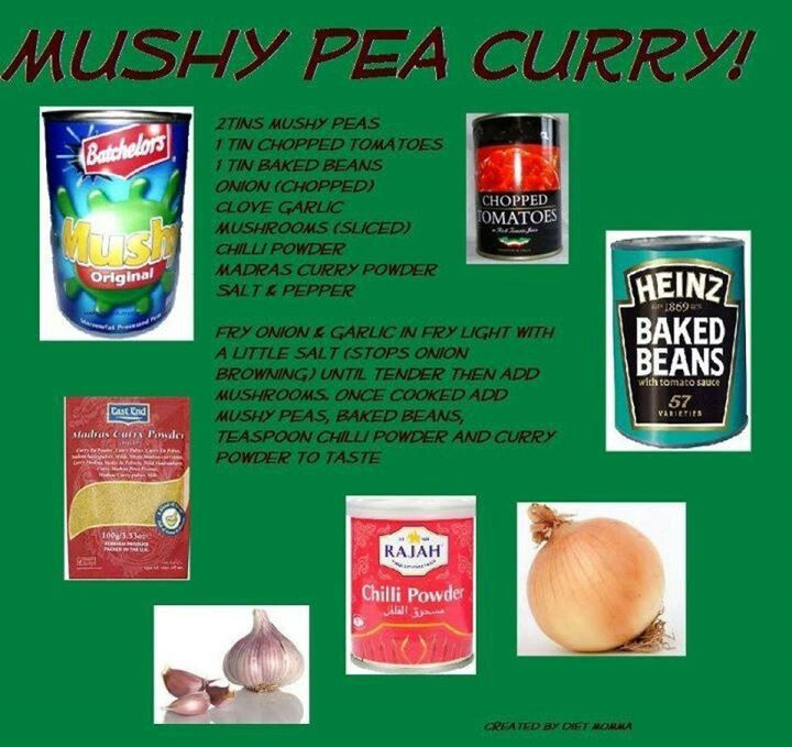 Slimming World mushy pea curry. Graphic only no link