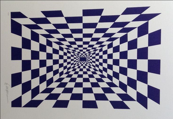 Gravura Cinético Azul de Kleber Ventura - Abstrato