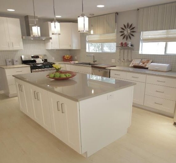 Pendant Light Fixtures Over The Island HGTVs Property Brothers   Maybe Light  Gray Quartz Countertops? Stylish And Durable
