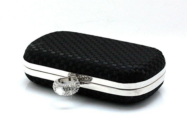 Black Chinese Women's Satin Clutch Handbag Purse Makeup Bag Wedding Evening Bag 03871B
