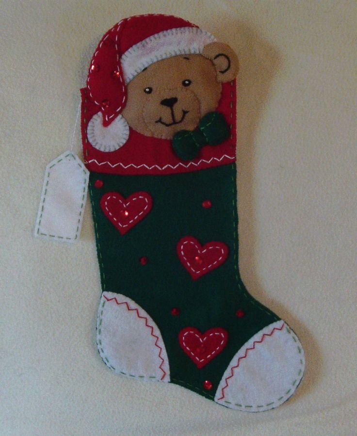 Bucilla Teddy Bear Buddy felt applique stocking por goldeneagleva