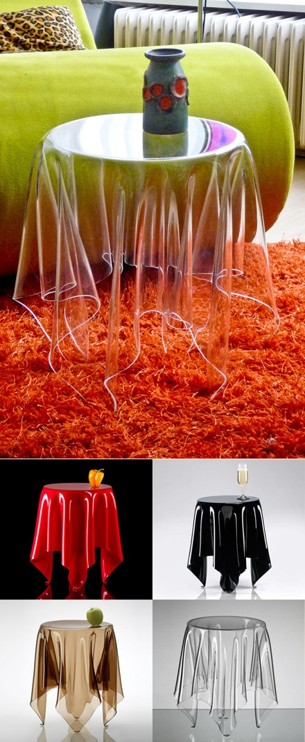 【消失的边桌】丹麦设计师John brauer设计制作,通体透明,仿若腾空悬浮,若隐若现,最大承重25KG。
