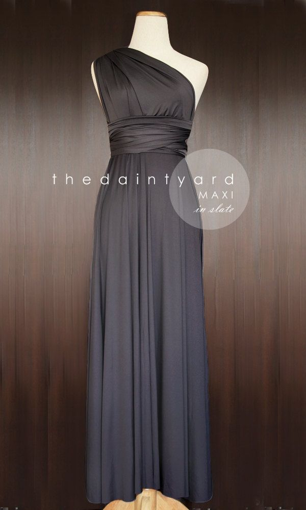 Maxi Length Slate Bridesmaid Convertible Dress Infinity Dress Multiway Wrap Dress Prom Maxi Long Dress Dark Grey Gray Charcoal Floor Length by thedaintyard on Etsy