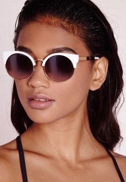 Half Frame Sunglasses White