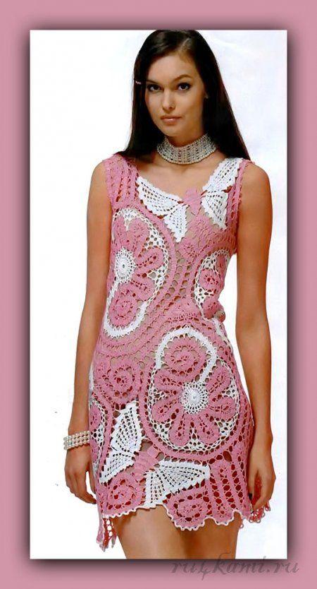 Платье крючком с бабочками