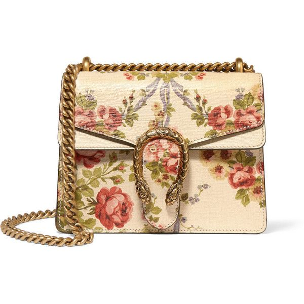 Gucci for NET-A-PORTER Dionysus mini floral-print leather shoulder bag found on Polyvore featuring bags, handbags, shoulder bags, gucci, bolsa, purses, neutrals, purse shoulder bag, leather hand bags and handbags purses