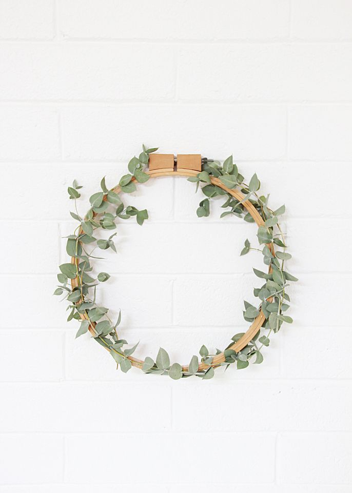 Green eucalyptus wreath with embroidery ring // Wall decoration