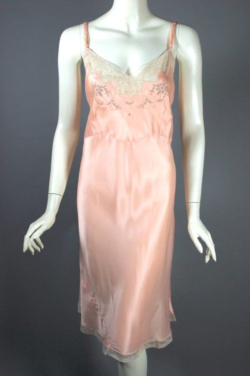 Peach pink bias cut rayon satin 1940s full slip lace trim size 44 L ... 46829ae80