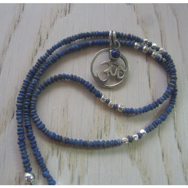 Om Lapis Silver pendant, Om Necklace, Lapis Lazuli Om pendant, Zen... ($35) ❤ liked on Polyvore featuring jewelry and pendants