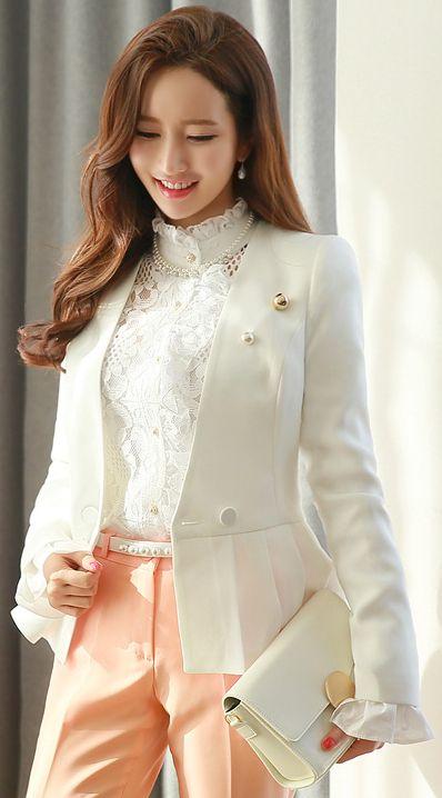 StyleOnme_Pearl Accent Belt Double-Breasted Peplum Jacket #ivory #white #feminine #classy #tailored #jacket #koreanfashion #springtrend #kstyle #kfashion #seoul #lace