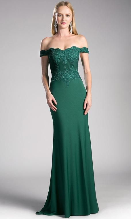 f4751649d663 Long hunter green off shoulder fitted dress with lace top. This dark green  formal lace sleek and sexy gown is perfect for emerald off shoulder  bridesmaid ...