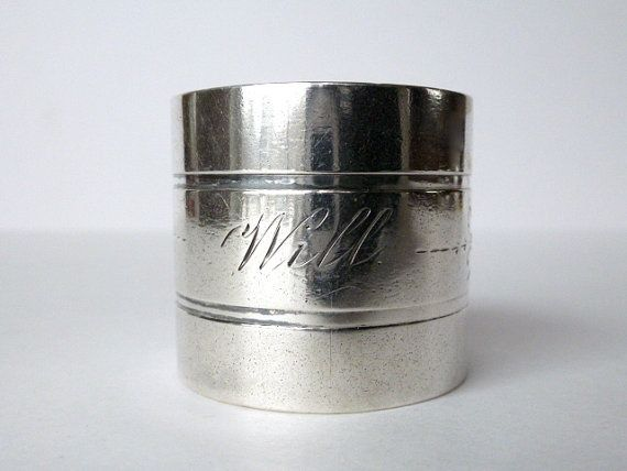 """""""Will"""" Engraved Antique Silver Napkin Ring by tippleandsnack"""