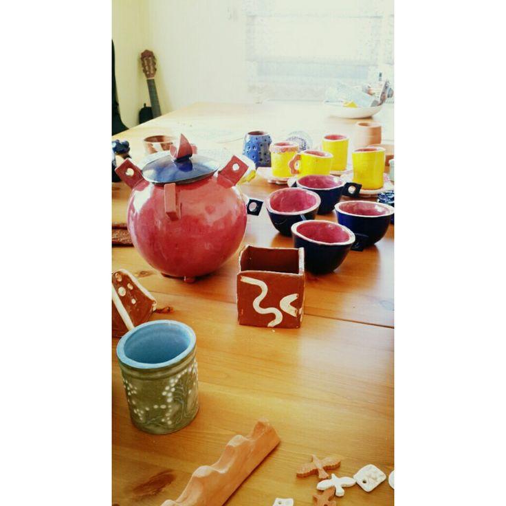 Benim seramik çaydanlığım ve kupalar.  A.gacan.G