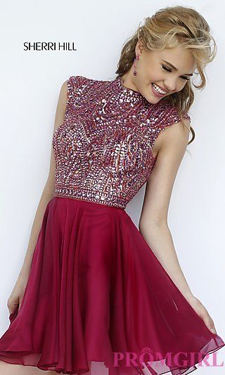 Short High Neck Open Back Dress by Sherri Hill at PromGirl.com: