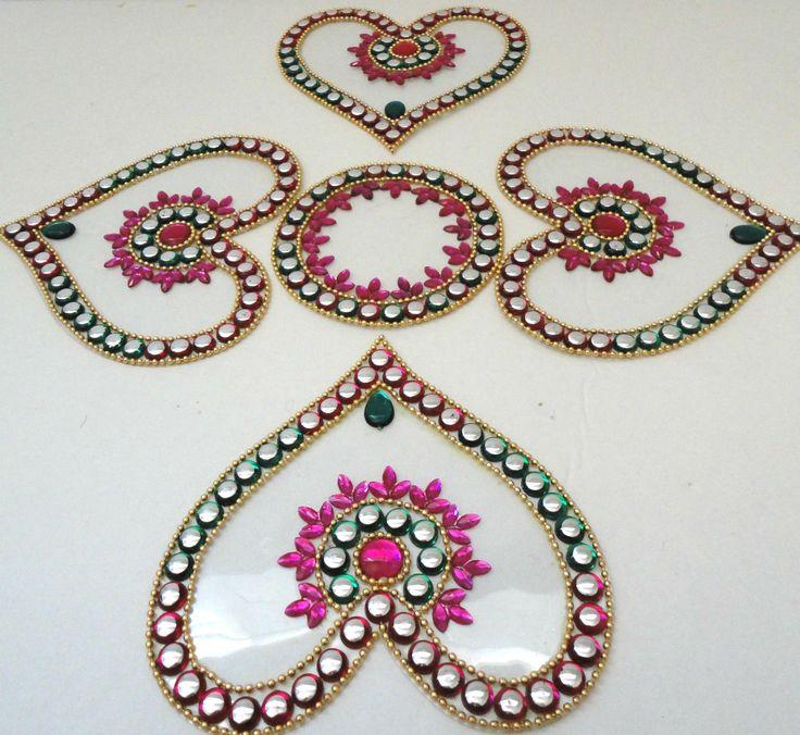 5P INDIAN WEDDING HANDMADE PINK GREEN HEART KUNDAN RANGOLI FLOOR/WALL/TABLE GIFT