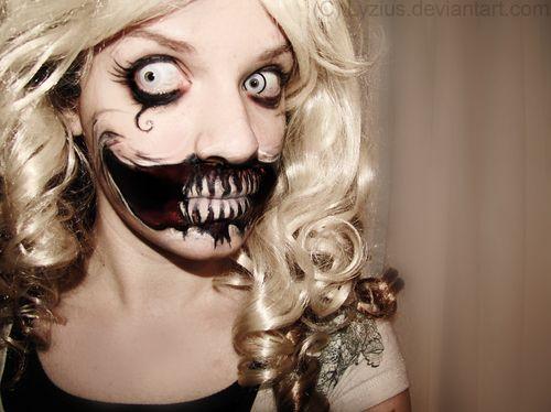 Mega Creepy makeup!Halloween Costumes, Dolls Makeup, Halloween Makeup, Hair Makeup, Makeup Ideas, Makeup Looks, Scary Halloween, Halloween Ideas, Crazy Eye