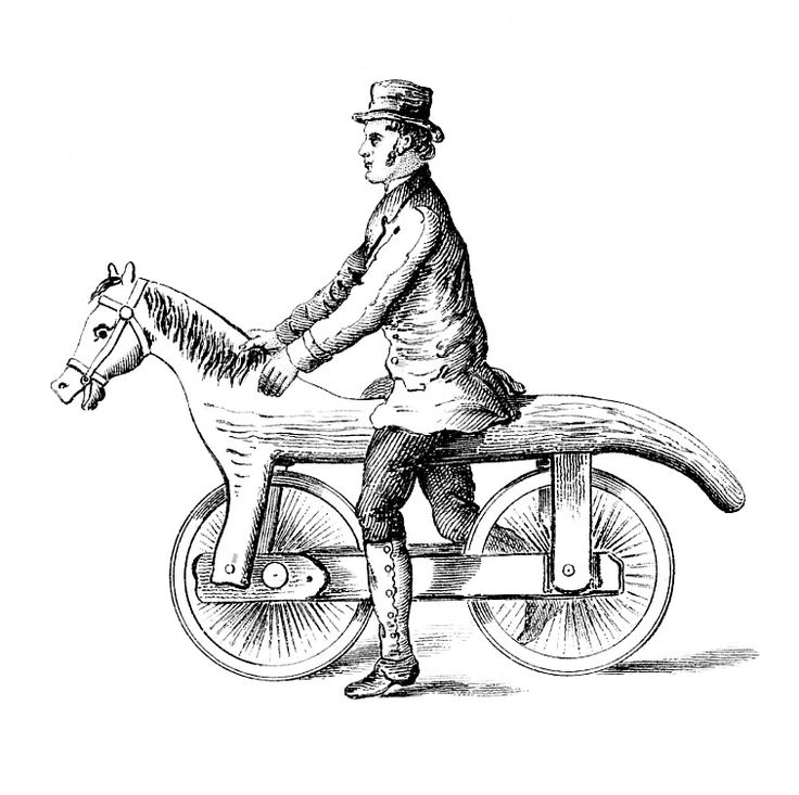 Antique Images - Unusual Early Bicycle with Horse Head - The Graphics Fairy