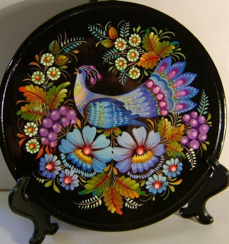 Folk art Ukrainian Handmade wooden Plate with Petrykivka Painting home Decor