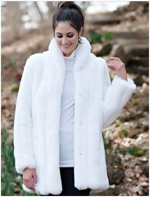 """WHITE MINK CLASSIC FAUX FUR JACKET. With a face-framing collar to wear up or down, timeless details make this 31"""" jacket a best-seller. For more pics go to: www.imageshack.com"""