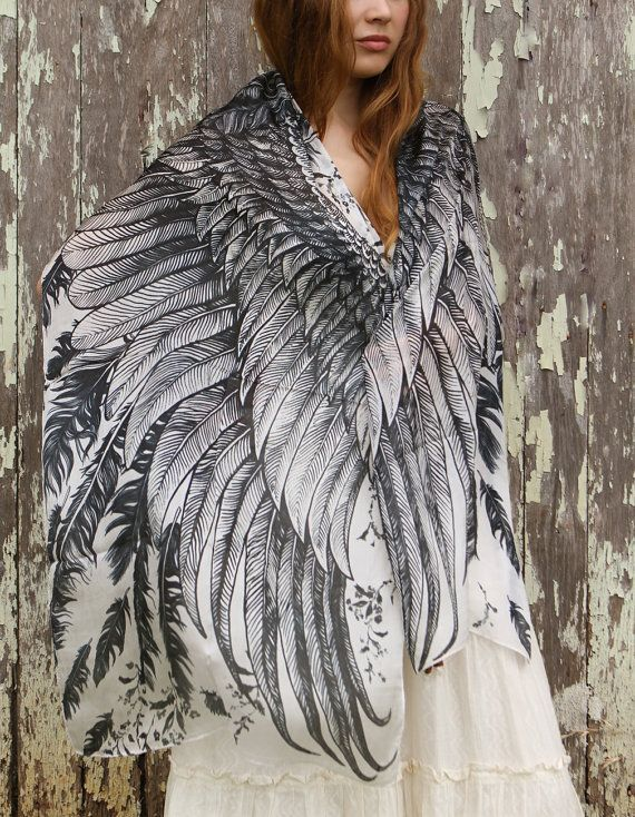 Wow- SILK scarf Hand painted Wings and feathers stunning by Shovava, $120.00