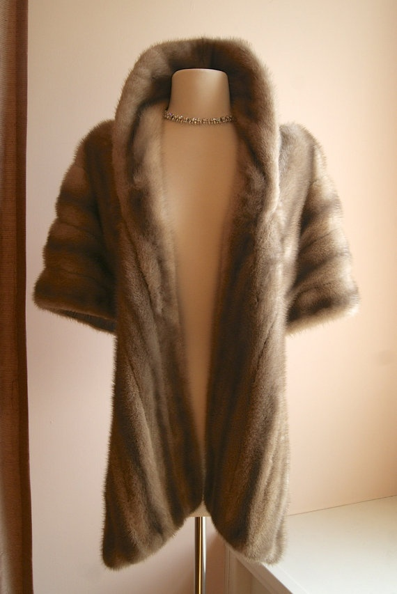 Vintage 1950s Mink Fur Wrap in Dove Grey by xtabayvintage on Etsy, $198.00