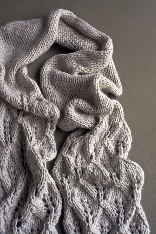 Knitting On The Bias Shawl Pattern : This lovely leaf lace scarf is made with lobster pot s