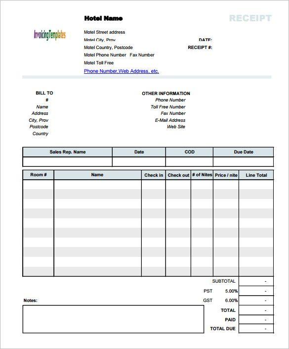 Hotel Receipt Invoice Template