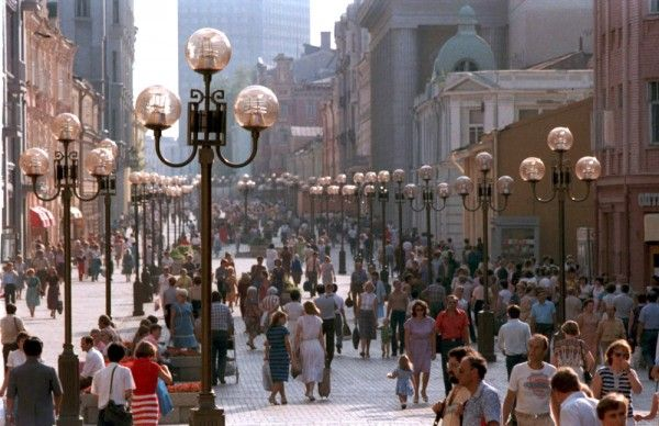Week 10. Arbat Street in Moscow is one of the most famous pedestrian destinations. There is no car access to this street. It is full of historic architecture, restaurants, shops, and entertainment facilities.