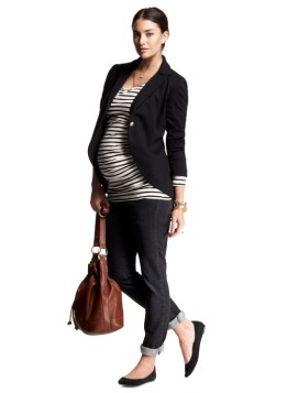 Maternity Fall Style. You can't see the button sleeves on this adorable blazer, but they are so stinking cute. I want.