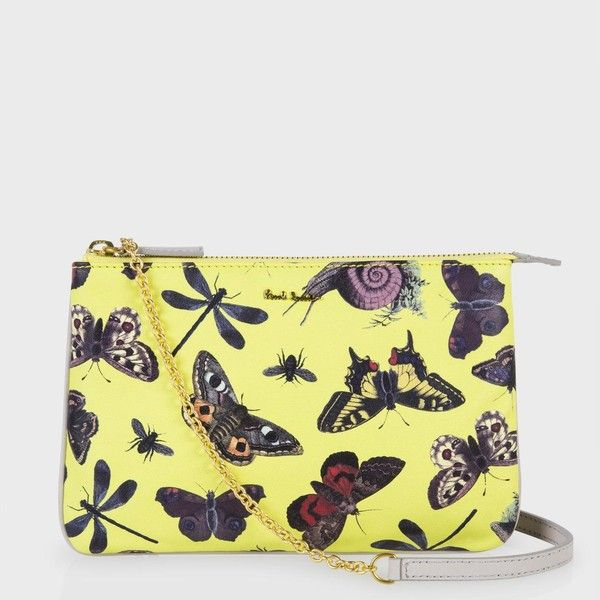 Paul Smith Yellow Insect Print Chain Purse (1.795 BRL) ❤ liked on Polyvore featuring bags, handbags, chain purse, chain handbags, yellow leather purse, leather handbag purse and yellow handbags