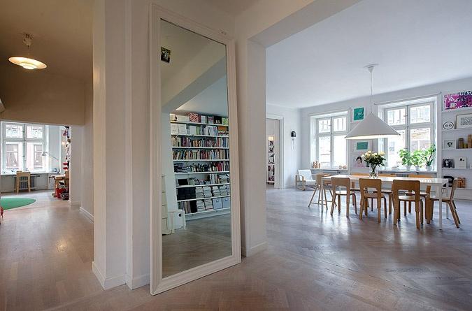 flow: Interior, Spaces, Inspiration, Big Mirrors, Living Room, Decoration Ideas, Studio Apartment, Design