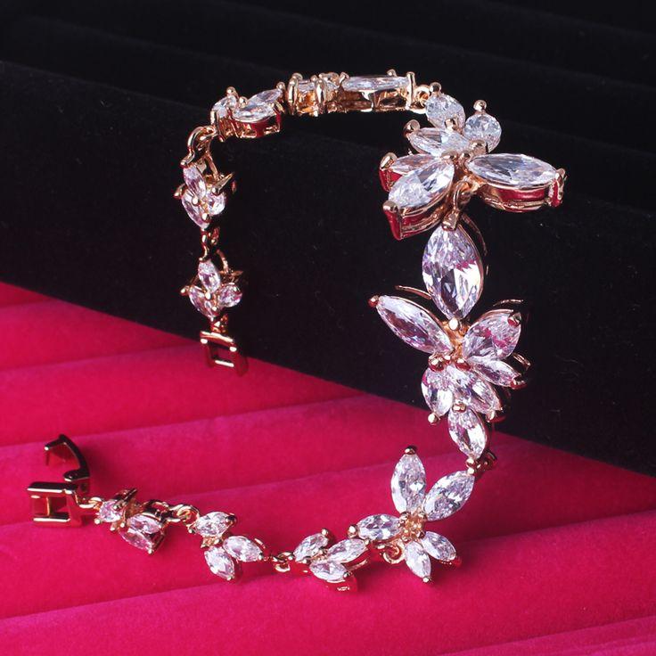 GULICX Марка Роскошные Свадебные Браслеты для Женщин Позолоченные Шарм Звено Цепи Белый Груша Кристалл Кубического Циркония Ювелирные Изделия L107