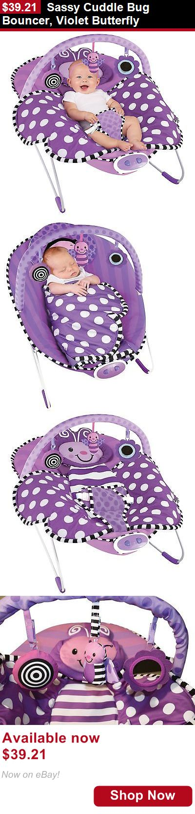 Baby bouncers and vibrating chairs: Sassy Cuddle Bug Bouncer, Violet Butterfly BUY IT NOW ONLY: $39.21