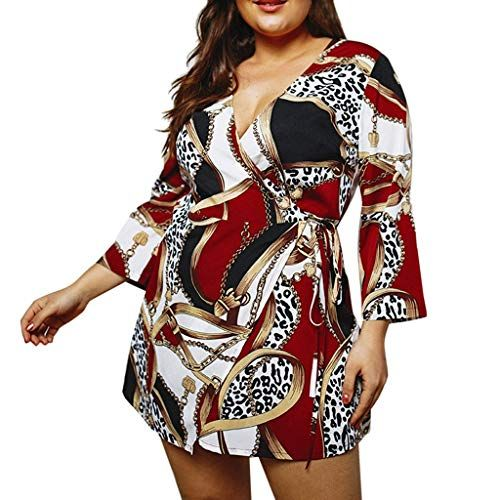 Sasstaids Womens Sommerkleid Gross Chain Print Langarm Minikleid Damen Kreuz Sommer Urlaub Kleid Abendkleid Rot Langarm Minikleid