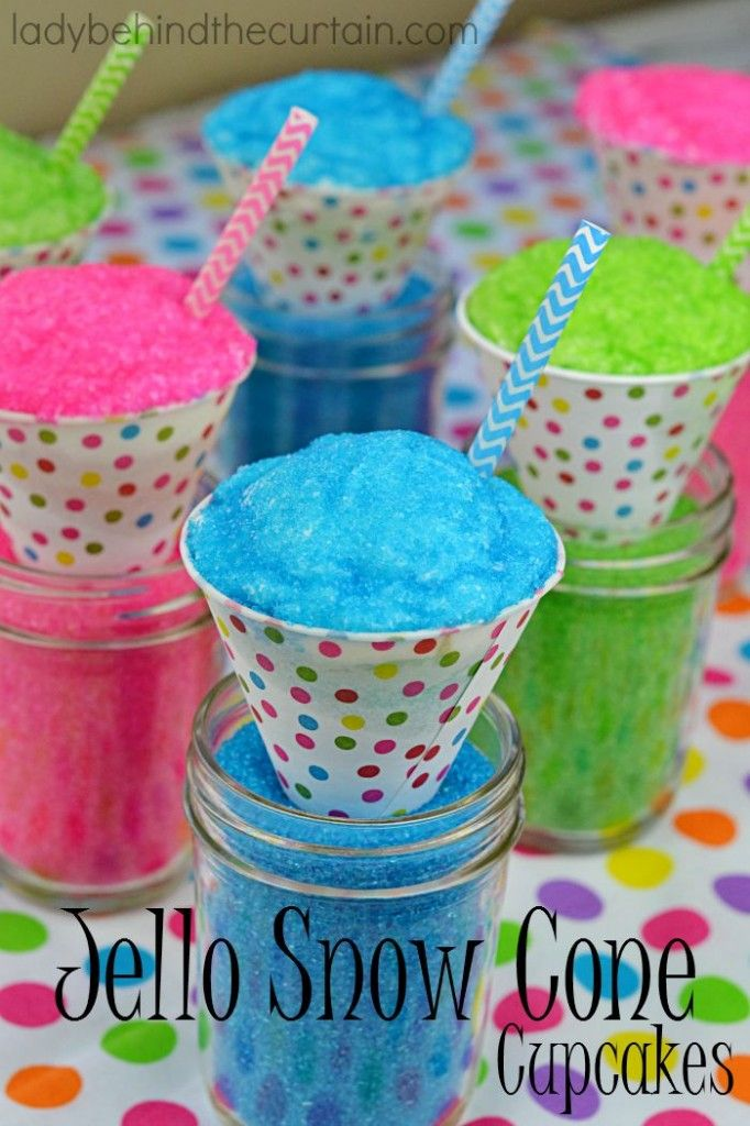 These Jello Snow Cone Cupcakes are just what my granddaughters ordered.  In three flavors; watermelon, lime and berry blue.