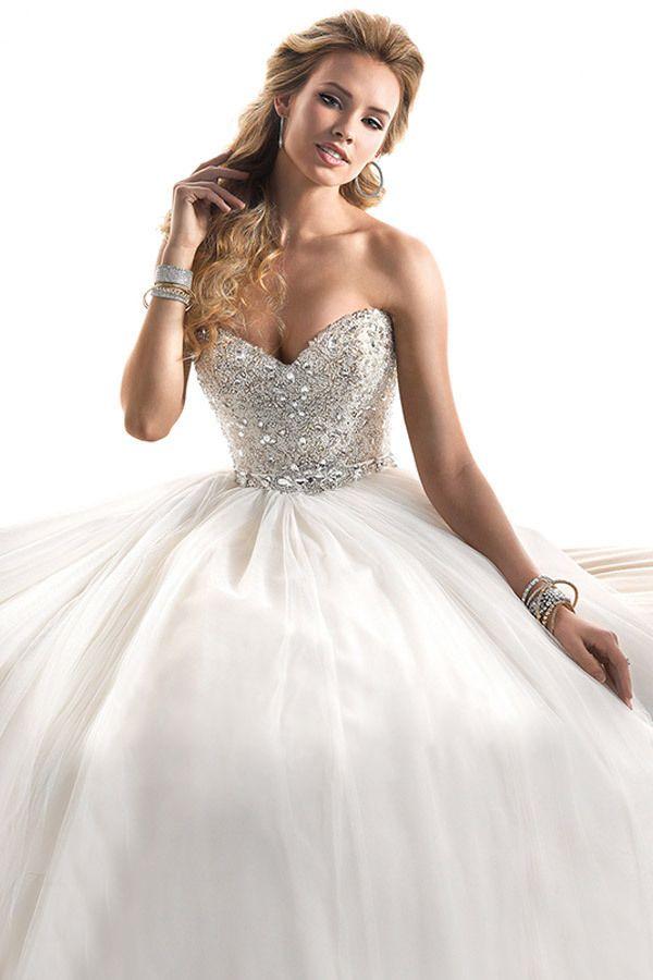 $199--2014 Wedding Gowns Top Crystals Sweetheart Sleeveless Ball Gowns Tulle Sweep Train Zipper Bridal Dresses #Vestidos de #novia