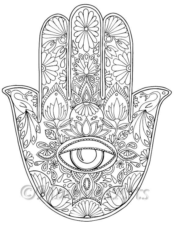 hand drawn adult coloring page print hamsa