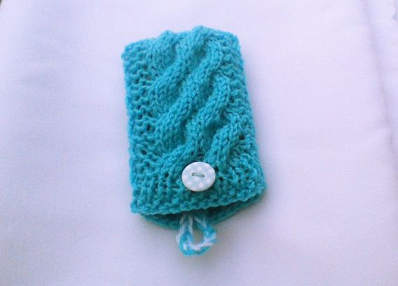 Blue knit cell phone case cell phone cozy phone by HandmadeTrend, $14.00