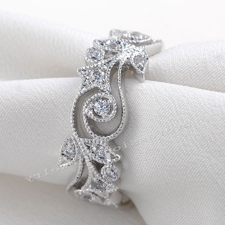 Victoria Wieck Antique jewelry  Flower Desgin 925 Sterling Silver Simulated Diamond Wedding Engagement Rings For Love Size 5-11