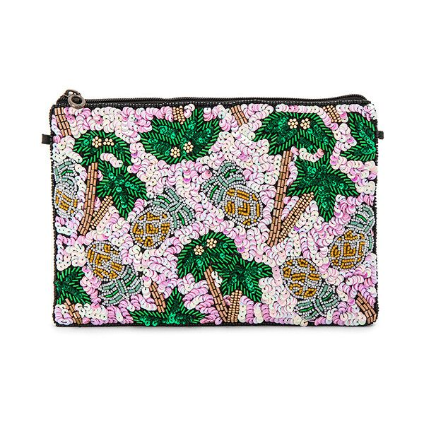 From St Xavier Pammie Clutch featuring polyvore, women's fashion, bags, handbags, clutches, hand bags, chain strap handbags, man bag, sequined clutches and beaded handbag