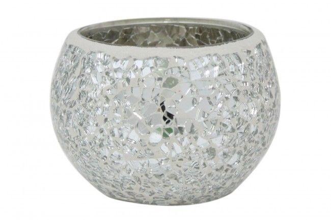silver mosaic crackle sparkle vase plant candle pot new. Black Bedroom Furniture Sets. Home Design Ideas