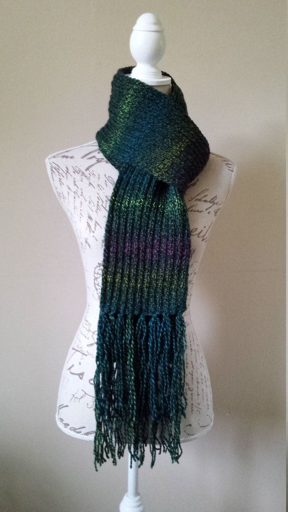 Multi Color Unisex Hand Knitted Long Scarf