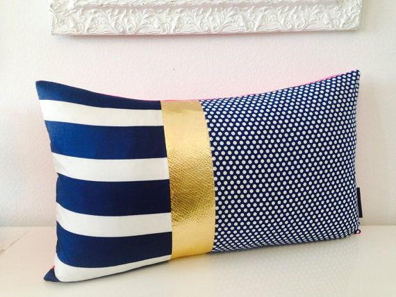 LOVE. Decorative Throw Pillow Cover 14x24 Lumbar Cushion Vintage Striped Scarf Navy Blue White Polka Dots Gold Faux Leather Hot Pink Polyester