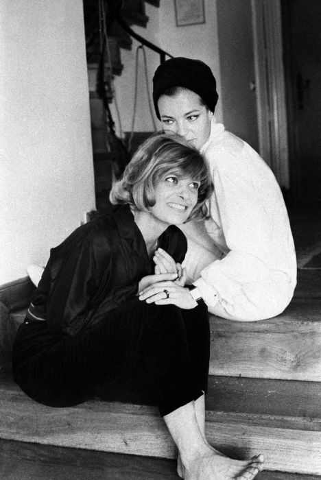 """ Romy Schneider & Melina Mercouri on the set of 10:30 P.M. Summer, 1964 """