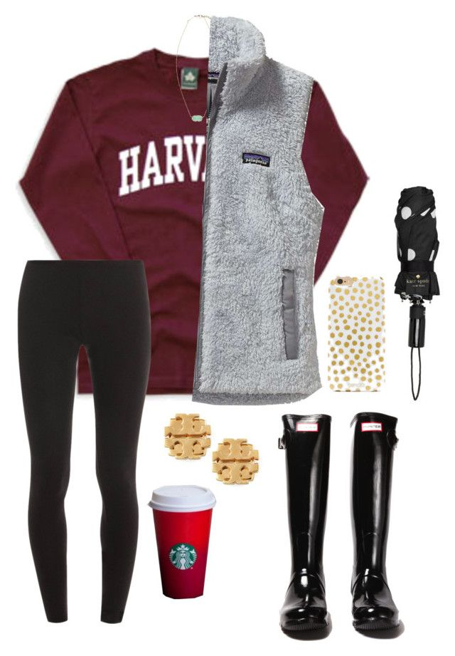 """""""can't wait for thanksgiving break read d:)"""" by lalalanie ❤ liked on Polyvore featuring Splendid, Kendra Scott, Patagonia, Tory Burch, Hunter, BaubleBar and Kate Spade"""