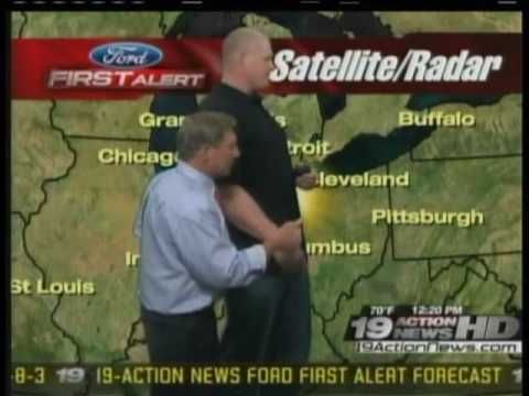 The Day of the the Smackdown/ECW Show in Cleveland on 9-1-09, Kane in the 19 Action News Weather Room in Cleveland.